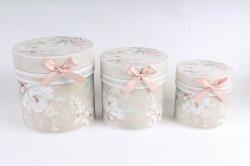 Набор подарочные коробок из 3шт -  Цилиндр цветы бежевый  D762