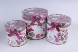 Набор подарочные коробок из 3шт -  Цилиндр цветы бело/лиловый  d=20см /h=20см  D761