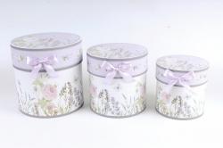 Набор подарочные коробок из 3шт -  Цилиндр цветы бело/сиреневый   D762