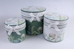 Набор подарочные коробок из 3шт -  Цилиндр цветы бело/зеленый  d=20см /h=20см  D761