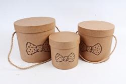 Набор подарочные коробок из 3шт -  Цилиндр Крафт бант бабочка К440