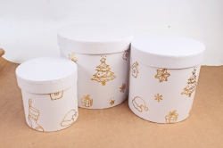 """Набор подарочные коробок из 3шт -  Цилиндр Новый год """"Белый с золотым тиснением""""  N309"""