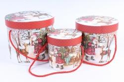 """Набор подарочные коробок из 3шт -  Цилиндр Новый год """"Дед Мороз с оленем"""""""