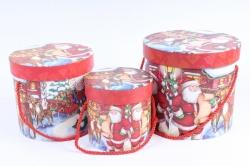 """Набор подарочные коробок из 3шт -  Цилиндр Новый год """"Дед Мороз со свитком"""""""