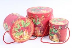 """Набор подарочные коробок из 3шт -  Цилиндр Новый год """"Колокольчики"""""""