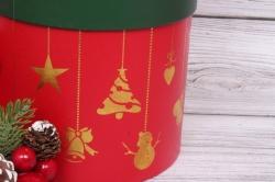 """Набор подарочные коробок из 3шт -  Цилиндр Новый год """"Красный"""" D=18, H=17 N823"""