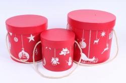 """Набор подарочные коробок из 3шт -  Цилиндр Новый год """"Красный с серебряным тиснением"""""""