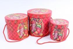 """Набор подарочные коробок из 3шт -  Цилиндр Новый год """"Носок с подарками"""""""