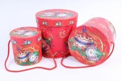 """Набор подарочные коробок из 3шт -  Цилиндр Новый год """"Шары"""""""