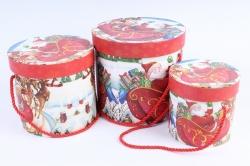 """Набор подарочные коробок из 3шт -  Цилиндр Новый год """"Веселый дед Мороз"""""""
