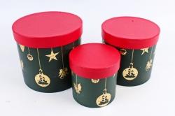 """Набор подарочные коробок из 3шт -  Цилиндр Новый год """"Зеленый с золотым тиснением""""  N310"""
