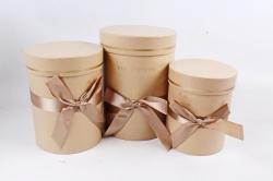 Набор подарочные коробок из 3шт -  Цилиндр с атласной лентой крафт К704
