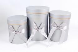Набор подарочные коробок из 3шт -  Цилиндр с атласной лентой серебро К704
