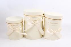 Набор подарочные коробок из 3шт -  Цилиндр с атласной лентой шампань К704