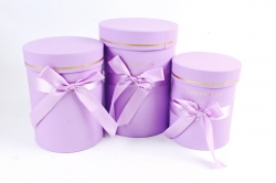 Набор подарочные коробок из 3шт -  Цилиндр с атласной лентой сирень К704