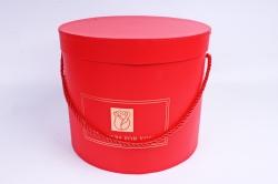 Набор подарочные коробок из 3шт -  Цилиндр с Розой красный К802