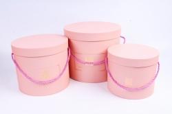 Набор подарочные коробок из 3шт -  Цилиндр с Розой розовый К802