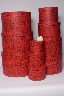 Набор подарочные коробок из 10шт -  Круг Миллион Роз d=41, h=25см К554