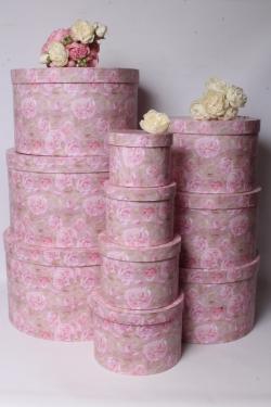 Набор подарочные коробок из 10шт -  Круг Пионы на розовом d=41, h=25см К554