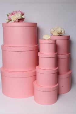 Набор подарочные коробок из 10шт -  Круг розовый d=41, h=25см К552
