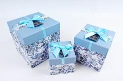 Набор подарочные коробок из 3шт -  КУБ Цветы голубая крышка К462