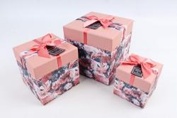 Набор подарочные коробок из 3шт -  КУБ Цветы коралловая крышка К462