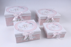 Набор подарочные коробок из 4шт -  Квадрат Цветы с птицей 22*22*11см D763