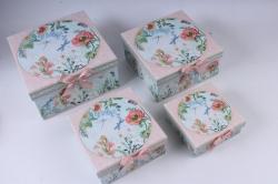 Набор подарочные коробок из 4шт -  Квадрат Цветы со стрекозой 22*22*11см D763