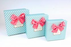 Набор подарочные коробок из 3шт -  Квадрат горох/полоска голубой  К809