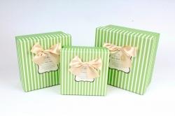 Набор подарочные коробок из 3шт -  Квадрат горох/полоска салатовый  К809