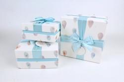 Набор подарочные коробок из 3шт -  Квадрат капли голубые   К497