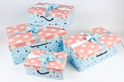 Набор подарочные коробок из 4шт -  Прямоугольник горох Зверюшки розовые   К492