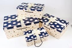 Набор подарочные коробок из 4шт -  Прямоугольник горох Зверюшки синий   К492