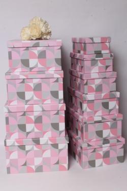 Набор подарочные коробок из 10шт -  Прямоугольник калейдоскоп розовый 36*28*16см К535