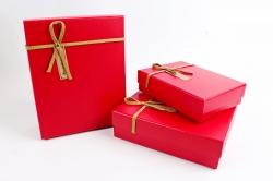 Набор подарочные коробок из 3шт -Прямоугольник кожа красный  К512