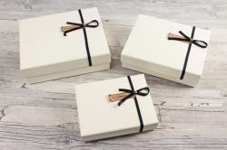 Набор подарочные коробок из 3шт -Прямоугольник кожа шампань   К512