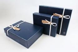 Набор подарочные коробок из 3шт -Прямоугольник кожа синий  К512