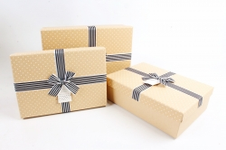 Набор подарочные коробок из 3шт -  Прямоугольник крафт горошек   К502