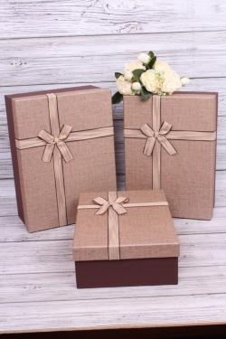 Набор подарочные коробок из 3шт -  Прямоугольник лен шоколад 36*26*14см В345