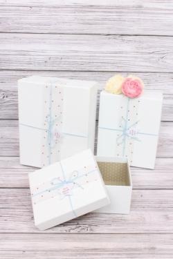 Набор подарочные коробок из 3шт -  Прямоугольник Медный горошек голубой 26*21*10