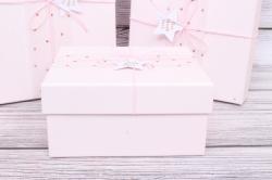 Набор подарочные коробок из 3шт -  Прямоугольник Медный горошек розовый 26*21*10