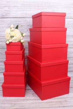 Набор подарочные коробок из 10шт -  Прямоугольник однотонный красный 37*28*16см К233