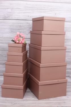 Набор подарочные коробок из 10шт -  Прямоугольник однотонный пыльная роза 37*28*16см К232