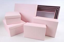 Набор подарочные коробок из 10шт -  Прямоугольник однотонный розовый  К307