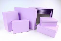 Набор подарочные коробок из 10шт -  Прямоугольник однотонный сирень  К772
