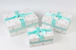 Набор подарочные коробок из 3шт -  Прямоугольник полумесяц голубой    К496