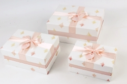 Набор подарочные коробок из 3шт -  Прямоугольник ромбы розовые   К496