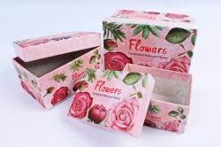 """Набор подарочные коробок из 3шт -  Прямоугольник """"Розы""""  SY2270-294"""