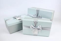 Набор подарочные коробок из 3шт -  Прямоугольник серо-голубой  К494