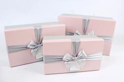 Набор подарочные коробок из 3шт -  Прямоугольник серо-розовый   К494